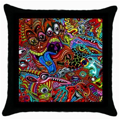 Art Color Dark Detail Monsters Psychedelic Throw Pillow Case (Black)