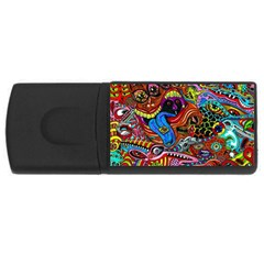 Art Color Dark Detail Monsters Psychedelic USB Flash Drive Rectangular (4 GB)