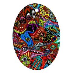Art Color Dark Detail Monsters Psychedelic Oval Ornament (Two Sides)