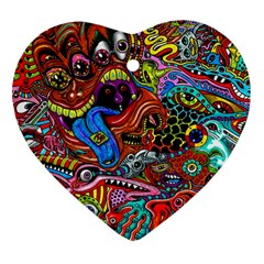 Art Color Dark Detail Monsters Psychedelic Heart Ornament (Two Sides)
