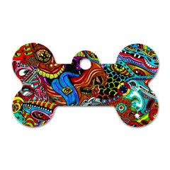 Art Color Dark Detail Monsters Psychedelic Dog Tag Bone (Two Sides)