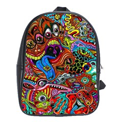 Art Color Dark Detail Monsters Psychedelic School Bags(Large)