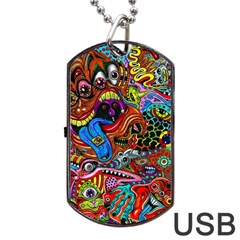 Art Color Dark Detail Monsters Psychedelic Dog Tag USB Flash (Two Sides)