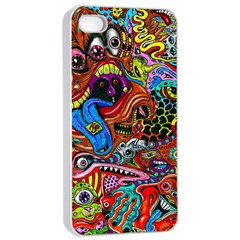 Art Color Dark Detail Monsters Psychedelic Apple iPhone 4/4s Seamless Case (White)