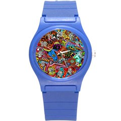Art Color Dark Detail Monsters Psychedelic Round Plastic Sport Watch (S)