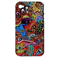 Art Color Dark Detail Monsters Psychedelic Apple iPhone 4/4S Hardshell Case (PC+Silicone)