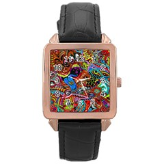 Art Color Dark Detail Monsters Psychedelic Rose Gold Leather Watch