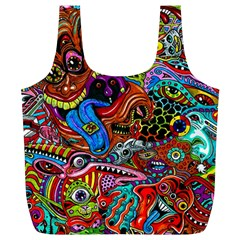 Art Color Dark Detail Monsters Psychedelic Full Print Recycle Bags (L)