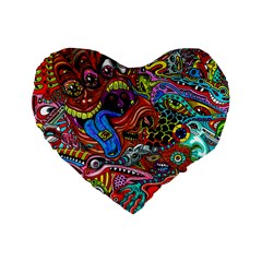 Art Color Dark Detail Monsters Psychedelic Standard 16  Premium Flano Heart Shape Cushions