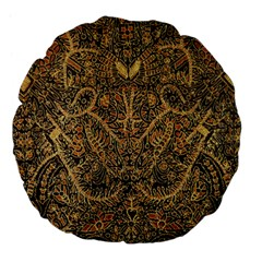 Art Indonesian Batik Large 18  Premium Flano Round Cushions