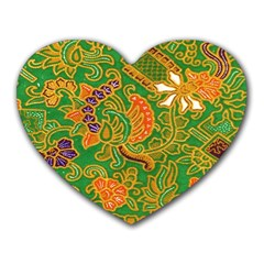 Art Batik The Traditional Fabric Heart Mousepads