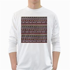 Aztec Pattern Art White Long Sleeve T-Shirts