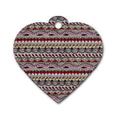 Aztec Pattern Art Dog Tag Heart (Two Sides)