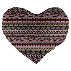 Aztec Pattern Art Large 19  Premium Heart Shape Cushions