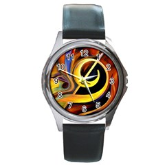 Art Oil Picture Music Nota Round Metal Watch