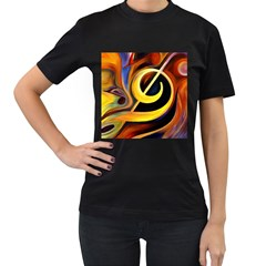 Art Oil Picture Music Nota Women s T-Shirt (Black) (Two Sided)