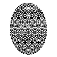 Aztec Design Pattern Oval Ornament (Two Sides)