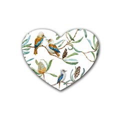 Australian Kookaburra Bird Pattern Heart Coaster (4 pack)