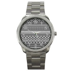 Aztec Pattern Design Sport Metal Watch