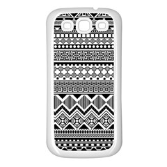Aztec Pattern Design Samsung Galaxy S3 Back Case (White)