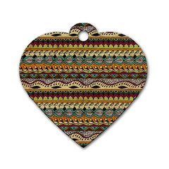 Aztec Pattern Ethnic Dog Tag Heart (Two Sides)