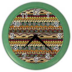 Aztec Pattern Ethnic Color Wall Clocks
