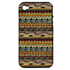 Aztec Pattern Ethnic Apple iPhone 4/4S Hardshell Case (PC+Silicone)