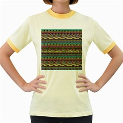 Aztec Pattern Cool Colors Women s Fitted Ringer T-Shirts