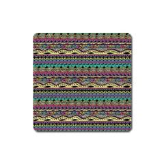 Aztec Pattern Cool Colors Square Magnet