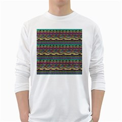 Aztec Pattern Cool Colors White Long Sleeve T-Shirts