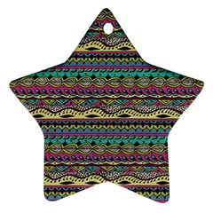 Aztec Pattern Cool Colors Star Ornament (Two Sides)
