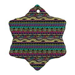 Aztec Pattern Cool Colors Ornament (Snowflake)