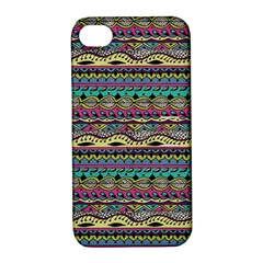 Aztec Pattern Cool Colors Apple iPhone 4/4S Hardshell Case with Stand