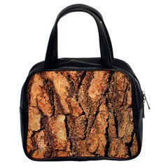 Bark Texture Wood Large Rough Red Wood Outside California Classic Handbags (2 Sides)