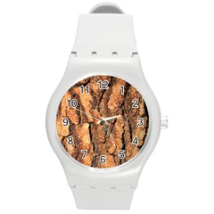 Bark Texture Wood Large Rough Red Wood Outside California Round Plastic Sport Watch (M)