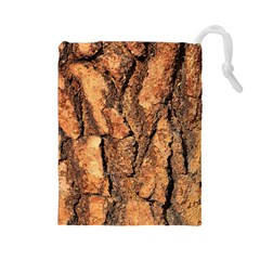 Bark Texture Wood Large Rough Red Wood Outside California Drawstring Pouches (Large)