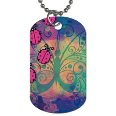 Background Colorful Bugs Dog Tag (Two Sides)