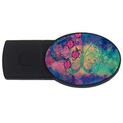 Background Colorful Bugs USB Flash Drive Oval (2 GB)