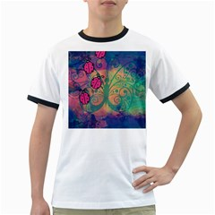 Background Colorful Bugs Ringer T-Shirts