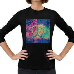 Background Colorful Bugs Women s Long Sleeve Dark T-Shirts