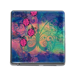 Background Colorful Bugs Memory Card Reader (Square)