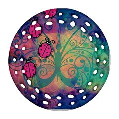 Background Colorful Bugs Round Filigree Ornament (Two Sides)