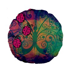Background Colorful Bugs Standard 15  Premium Round Cushions