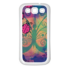 Background Colorful Bugs Samsung Galaxy S3 Back Case (White)