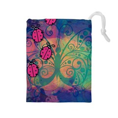 Background Colorful Bugs Drawstring Pouches (Large)
