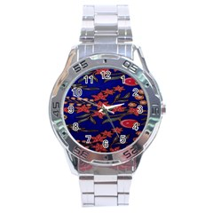 Batik  Fabric Stainless Steel Analogue Watch