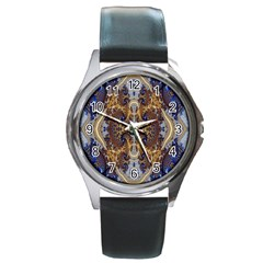 Baroque Fractal Pattern Round Metal Watch