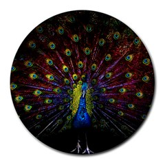 Beautiful Peacock Feather Round Mousepads