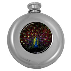 Beautiful Peacock Feather Round Hip Flask (5 oz)