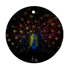 Beautiful Peacock Feather Round Ornament (Two Sides)